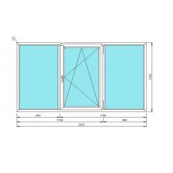 окно металлопластиковое, 3-хстворчатое