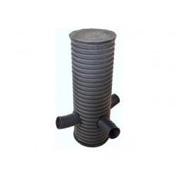 Колодец смотровой d400/348 мм с тремя отводами (90 град.) d160 мм, высота 2,5 м с дном и крышкой