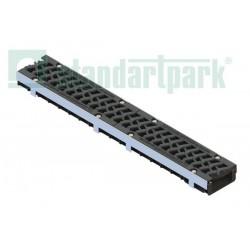Лоток водоотводный PolyMax Drive ЛВ-10.16.06-ПП пластиковый с решеткой чугунной 'шина' ВЧ кл. Е