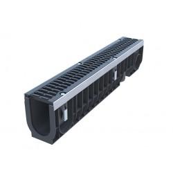 Лоток водоотводный пластиковый PolyMax Drive DN100 H216 с чугунной решеткой кл. D